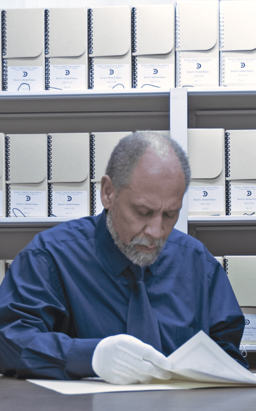 Professor Holton working in the Driskell Center archives.