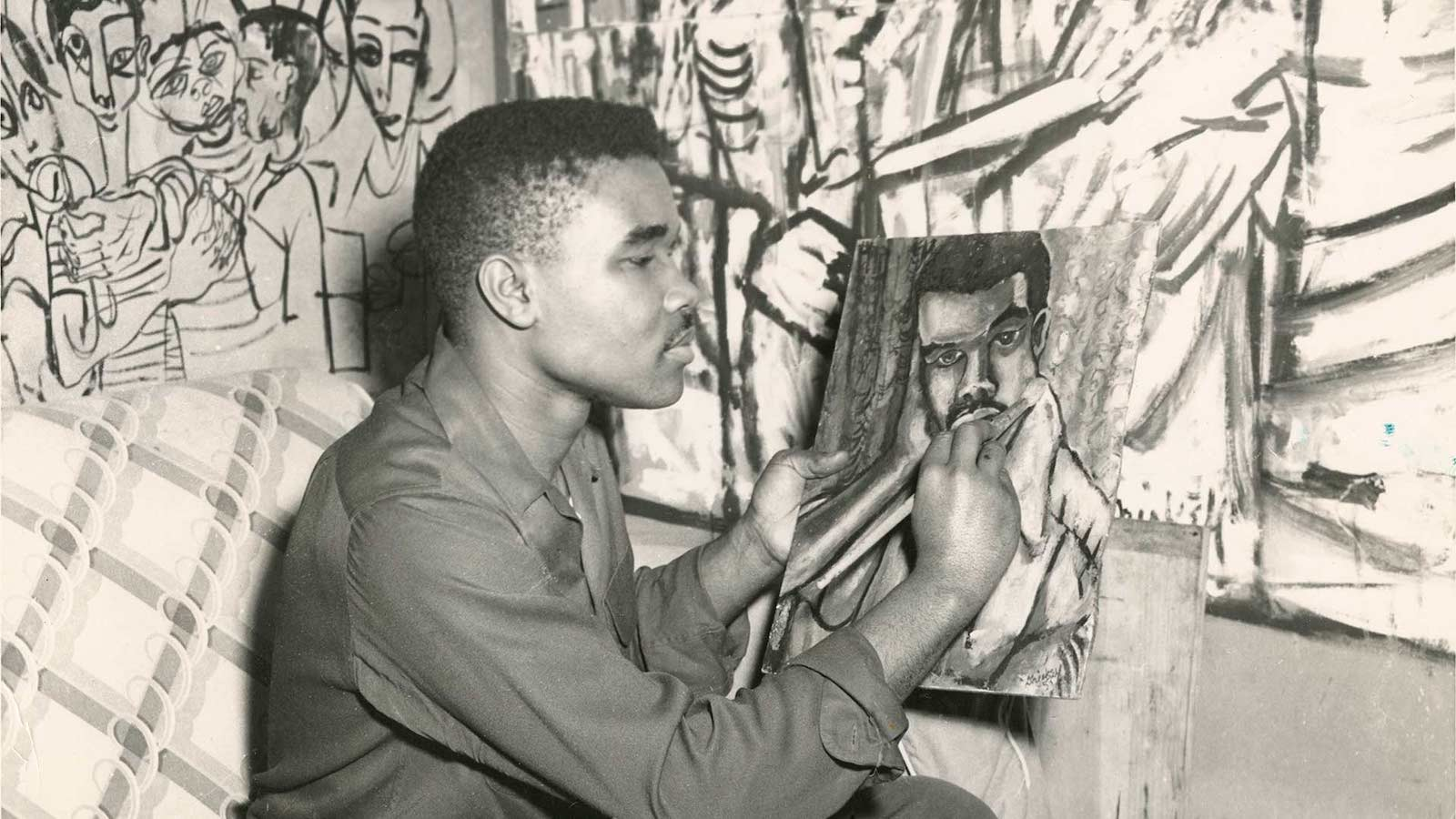 David C. Driskell paints